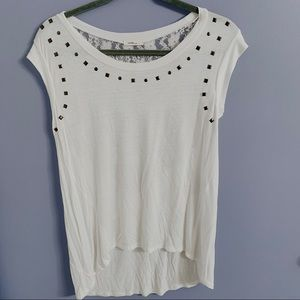 Tops - White Studded/Lace Top